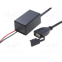 [Nabíjecí autoadaptér USB A zásuvka; 12V; 5V/1x2,1A; čierna]