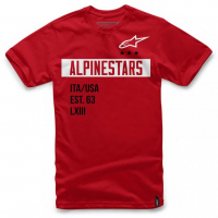[Pánske červené tričko VALIANT TEE Alpinestars krátke 1036-72002 30]