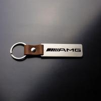 [Oceľový prívesok na kľúče s koženým remienkom AMG]