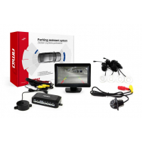 "[Asistent parkovania LCD 4,3"" s kamerou HD-305 LED 4-senzorové biele]"
