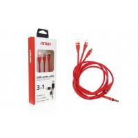 [Multi-kábel pre telefón USB C / micro USB 120cm červený FullLINK 3.1A UC-7]