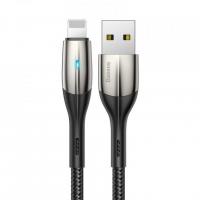 [USB to Lightning s LED světlem Baseus Horizontální černá 50 cm 2,4A]