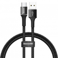 [Kabel USB na micro USB s LED světlem 3A 100 cm černý BASEUS Halo]